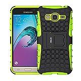 Galaxy J3 (2016) Funda, Fetrim Proteccion Cáscara Cases Delgada de Golpes Doble Capa de Tough Armor Anti-Shock de Soporte de Protectora para Samsung Galaxy J3 (2016) (Verde)