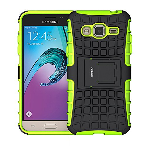 Fetrim Custodia Galaxy J3 2016, cover supporto anti Case, TPU Plastica Bumper Rugged armatura ultra protezione Copertura Cassa Shell Caso per Samsung Galaxy J3 2016 - verde