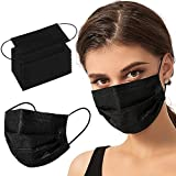 100PCS Black Disposable Face Masks 3 Ply Filter Protection Breathable Face Mask for Adults