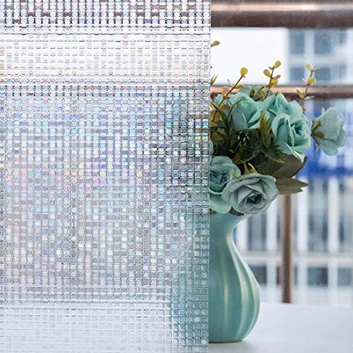 Fensterfolie 3D Dekofolie Sichtschutzfolie Zindoo Statisch Selbsthaftend Ohne Kleber Kleines Quadrat Anti-UV Milchglasfolie Fensterfolie für Badezimmer, Zuhause 44.5 x 200cm
