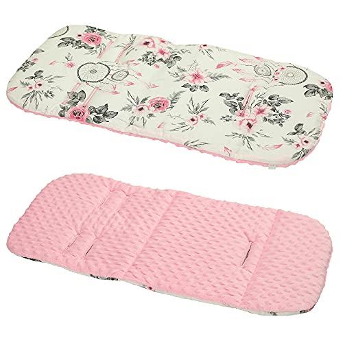 Cotton & Bubble Fleece Pram Insert, Liner Covers 5pt Universal Reversible (Dream Catchers/Pink)