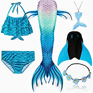 6PCS/Set Rainbow Style Mermaid Tail Swimsuit With Fin For Kids Girls Holiday Dress Costume Bathing Swimuit (Color : Orang...