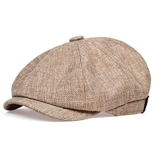 Sombrero de Vendedor de periódicos Informal para Hombres nuevos Primavera y otoño Sombrero de Boina Retro Fino Moda Sombrero Casual Salvaje Unisex Sombreros octogonales Salvajes-Beige-56-62CM