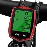 Vegena Cuentakilómetros para Bicicleta, Velocímetro para Bicicleta, Ciclismo, Velocímetro Impermeable Inalámbrico para Bicicleta con Pantalla LCD de Retroiluminación (Rojo)
