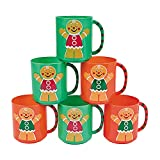 Plastic Holiday Gingerbread Man Mugs for Christmas (set of 12) Party Supplies