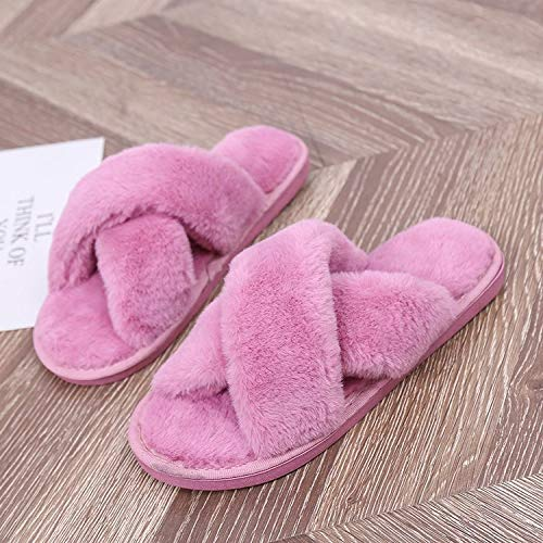 Buy and buy at Brandon Couple Cotton Slippers for Men and Women - Autumn and Winter Ladies Plush Japanese Style Indoor Home Month Hairy Word DragA-1leather redA-136-37