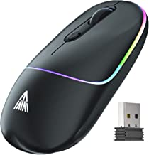 SOLAKAKA Wireless Mouse Rechargeable, with RGB Rainbow Backlit, 3 Levels DPI Adjustable Slim Portable Office Laptop Mouse ...