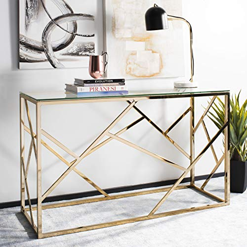 Safavieh Home Namiko Glam Tempered Glass and Brass Console Table