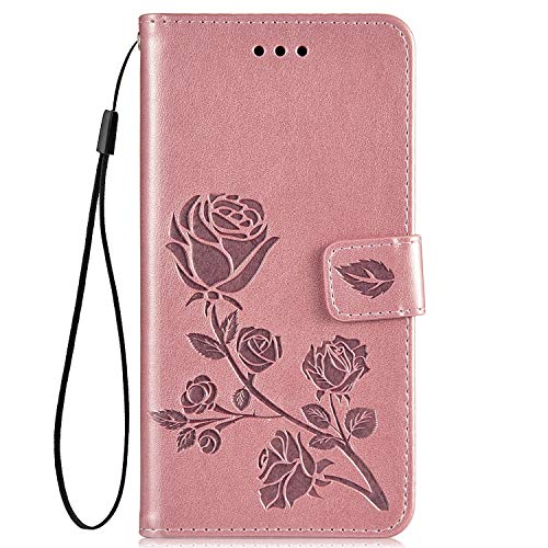 Felfy Compatible con Huawei P8 Lite Funda Oro Rosa PU Cuero Case Magnetica Flip Carcasa,Compatible con Huawei P8 Lite Cubierta 3D Flores Patrón Piel Funda con Soporte Plegable/Ranuras para Tarjetas