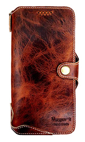 Yogurt for OnePlus 7 Pro Genuine Leather Wallet Cases Cover Handmade Dark Brown