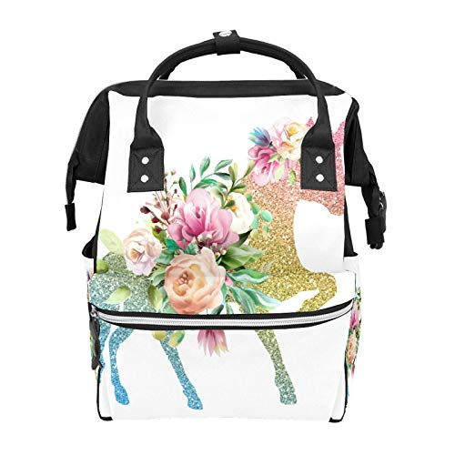 Sequined Unicorn Peony Little Girl Cheap School Bag Mummy Backpacks Laptop Handbag Large Capacity Rucksack for Women Men Student Girls Boys Teens