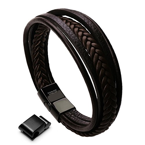 Murtoo Bracelet For Man Cowhide Genuine Leather Women Unisex Cuff Wrap Bracelet Brown Black Multi-layer Magnetic Clasp Rope Wristband (Brown, 8'' - 8.6'')