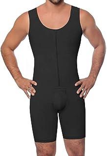 Men's Full Body Shaper -Tummy Control Slimming Shapewear Waist Trimmer Stretch Jumpsuit- Men's One-Piece Body Shaper Jumpsuit (Color : Black, Size : Large)