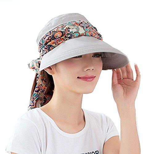 Faltbare Sommer Sonnenhut Weiblicher Hut Baseball Kappe Frauen Anti-UV Hut (Gray)