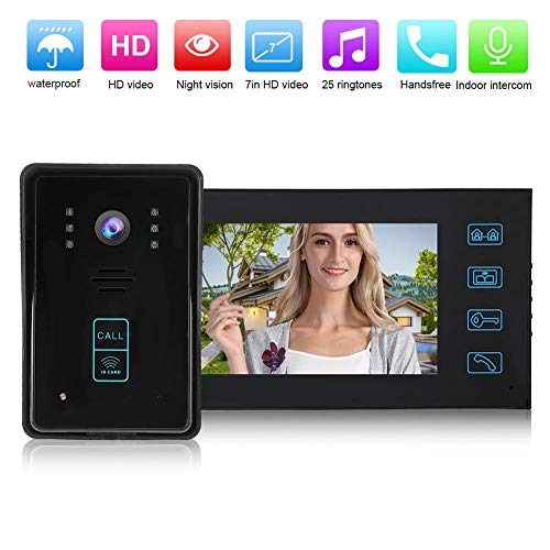 Timbre visual inteligente, 7 en color TFT LCD de vídeo para puerta de teléfono, sistema de control de acceso con control remoto para casa, apartamento, oficina