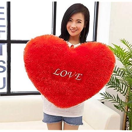 OSJS Teddy Bear Soft Decorative Heart Shape Cushion Pillow (33 X 33 Cm, Red)