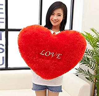 RK Toys Polyester Love Heart Shape Cushion Pillow (Red, Size L-32 X B-32 X H-10 cm)
