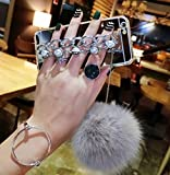 Case for iphone 5/5S/SE,Fluffy Pom-pom Ball Hairy Fur Pearl Diamond Rhinestone Hand Chain Holder Bracelet Shiny Reflective Mirror Case for Apple iphone 5/5S/SE (Star Silver)