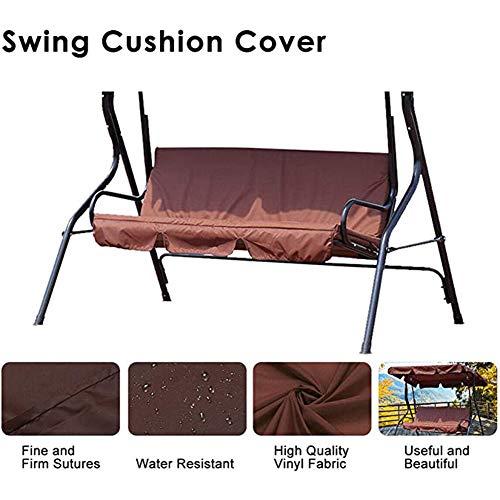 Funda de cojín de columpio, impermeable, 3 plazas, funda de cojín para silla de jardín al aire libre o patio hamaca – 150 x 50 x 10 cm, marrón