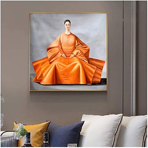 Surfilter Impresión en lienzo Pintura de lienzo japonesa coreana Mujer Arte Cuadros de pared Carteles Impresiones para sala de estar Decorativo para el hogar 15.7& rdquo; x15.7ABC 22 rdquo; (40x4