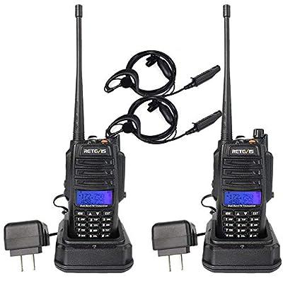 Retevis RT6 IP67 2 Way Radio Waterproof Dual Band VHF UHF 128 CH FM Emergency SOS Tri-Color LCD Walkie Talkies with Earpiece Hunting Skiing (2 Pack) by Retevis
