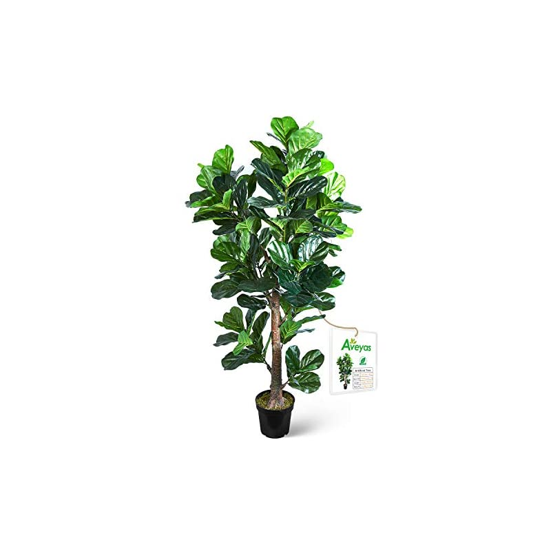 silk flower arrangements aveyas 6ft artificial fiddle leaf fig tree in plastic nursery pot, ficus lyrata fake tropical plant for office house living room home decor (indoor/outdoor)