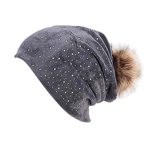ZZBO Slouch Beanie Mütze Damen Mützen Wintermütze Warme Mütze Baggy Cap Sleeve Soft Cosy Slouchy Hut Outdoor Headgear mit Bommeln und Strass