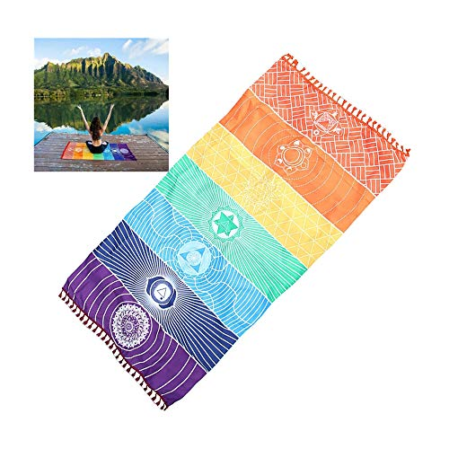Rainbow Beach Mat Mandala Blanket Wall Hanging Tapestry Stripe Towel Yoga Mat Sunscreen Shawl Tapestry Boho Style Outdoor Picnic Carpet - 30x59 Inch (Multicolor)