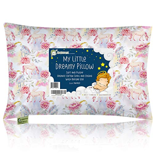 Toddler Pillow with Pillowcase - 13X18 Soft Organic Cotton Baby Pillows for Sleeping - Machine Washable - Toddlers, Kids, Boy, Girl - Perfect for Travel, Toddler Cot, Bed Set (Fantasy)