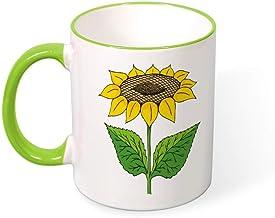 Beautiful Color Mug Mouth And Handle Nice Sunflower tea cup coffee cup green-nice 1