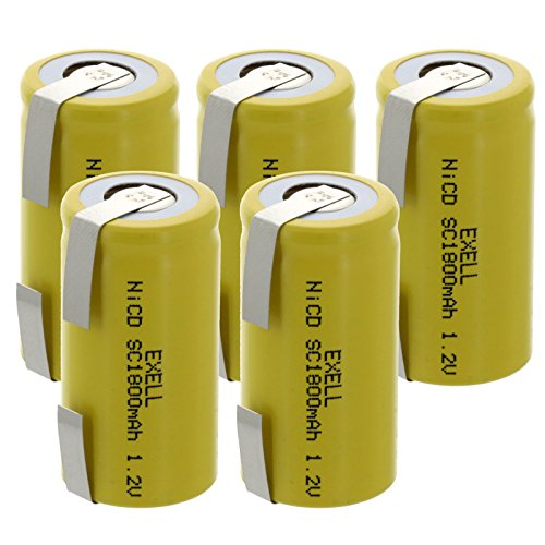 5x Exell SubC 1.2V 2000mAh NiCD Rechargeable Batteries with Tabs for meters, radios, hybrid automobiles, high power static applications (Telecoms, UPS and Smart grid), radio controlled devices