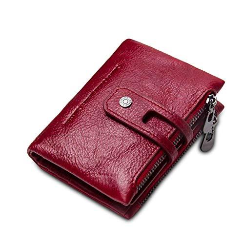 FANDARE Portafoglio Uomo Donna Corto Portafogli Pelle Portafoglio Pieghevole, con porta carte di credito, portamonete porta tessere Rosso