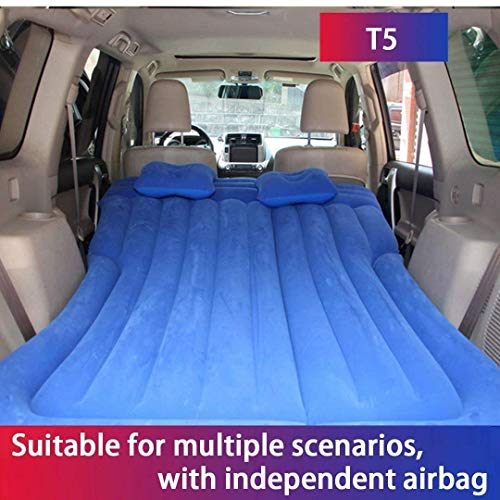 WSJYP Foldable Car Air Bed, Rear Row Independent Airbag Automatic Inflatable Mattress, Universal Outdoor for Camping Bed,T5-Blue