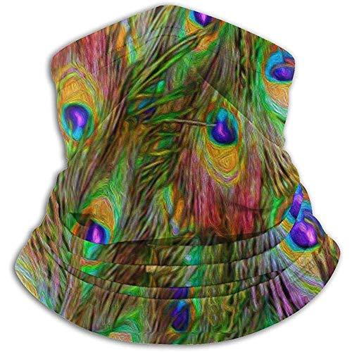 air kong Calentador de Cuello de vellón - Tubo de Polaina de Cuello de Rayas de invasión de Plumas de Pavo Real, pañuelo, máscara, Diadema y Gorro