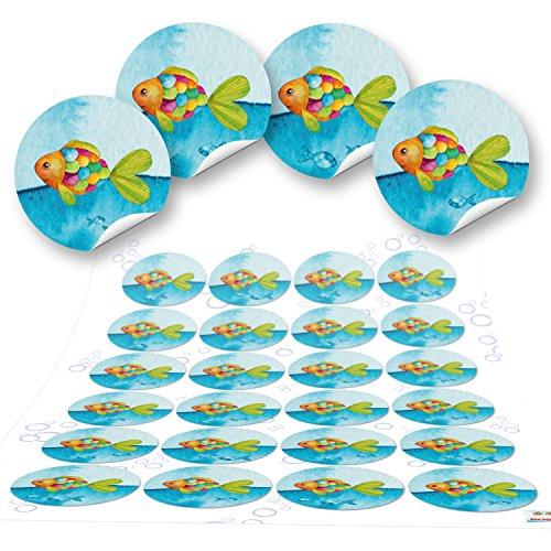96 pequeños 4 cm peces marítimos redondos niños azul turquesa pegatinas para niños Bautizo Comunión Pegatinas de regalo paquete arco iris peces decoración de mesa