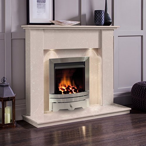 Cream Marble Stone Modern Wall Surround Gas Fireplace Suite Silver Inset Fire & Downlights