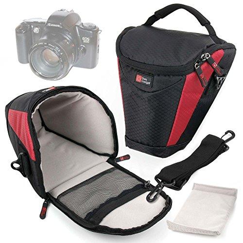 DURAGADGET Funda para Cámara Canon 500 EOS | 5000 EOS | EOS 1000 F | EOS 80D 24.2MP | Vivitar SLR 35m V3800N - Interior Acolchado - Negra Y Roja