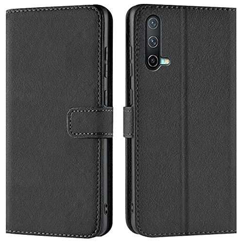 Verco Handyhülle für OnePlus Nord CE 5G Hülle, Bookcase Tasche Flipcover für OnePlus Nord CE Hülle [Kartenfächer/Aufstellfunktion], Schwarz
