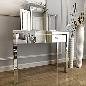 Mecor Mirrored Makeup Dressing Table Set w/Tri-fold Mirror Silver Vanity Table with 2 Drawers Modern Writing Desk for Bedroom Bathroom Home Office
