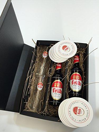 Früh Kölsch Set/Geschenkset - 2x Früh Kölsch 330ml (4,8% Vol) + 2x Früh Gläser + 10x Früh Bierdeckel - Inkl. Pfand MEHRWEG
