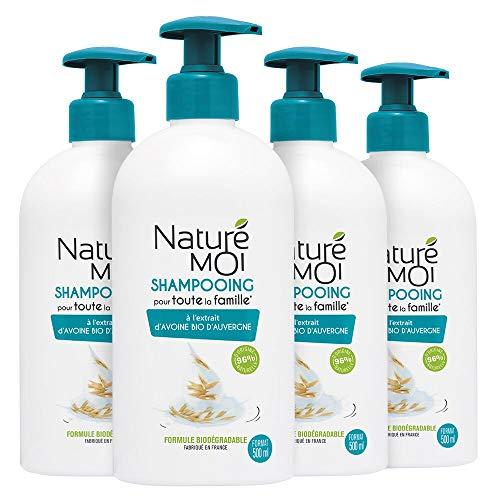 Naturé Moi - Shampooing pour toute la famille à l'extrait d'avoine bio d'Auvergne - Format familial adapté à un usage fréquent pour les cheveux des parents et des enfants - 500 ml - Lot de 4