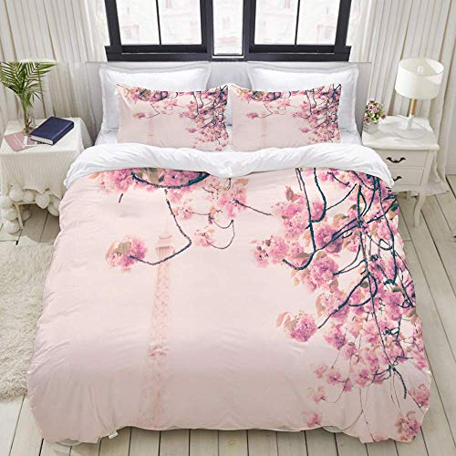 Duvet Cover Set, Pink Cherry Blossoms Front Eiffel Tower, Colorful Decorative 3 Piece Bedding Set with 2 Pillow Shams