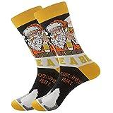 Funny Christmas Socks Crew Socks, Fancy Motorcycle Santa & Beer Santa Printed, Cotton Cozy Xmas Holiday Novelty Socks, Casual Mid-Calf Socks Funny Design for Men & Women (Yellow)