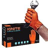 Ignite Gants en Nitrile orange à texture en losange, sans talc, très robustes (90, taille XL)