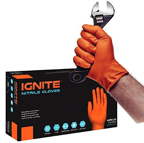 IGNITE - Guantes de nitrilo con textura de diamante, libres de polvo y resistentes, (90, tamaño XL) color naranja