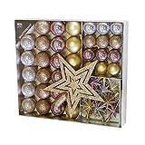 Unbekannt Juego de 45 Bolas navideñas de Ø4 / 5cm con Punta de árbol y Cadena de plástico de Oro/Rosa