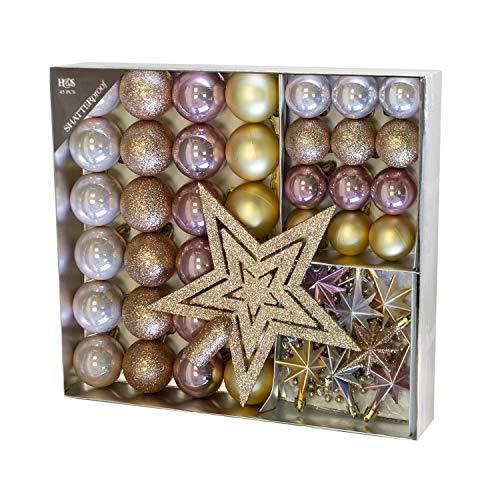 Unbekannt Set di 45 Palline di Natale Ø4 / 5cm con Punta d'albero e Catena in plastica Oro/Rosa