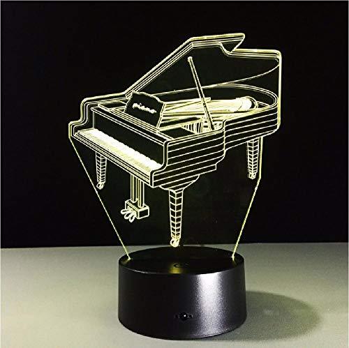 Lámpara de mesa de piano 3D para niños 7 colores de efecto cambiante Luces decorativas de dormitorio Sensor táctil Usb 3Aa Batería Luz de estudiante