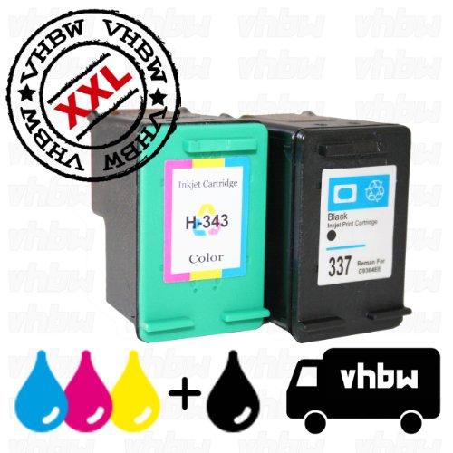 vhbw Set 2X Cartuchos de Tinta, Negro + Color, Compatible con HP 337, 343, C8766EE, C9364EE