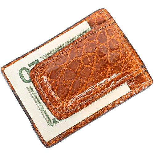 Genuine Alligator Leather Magnetic Money Clip Wallet (Cognac)